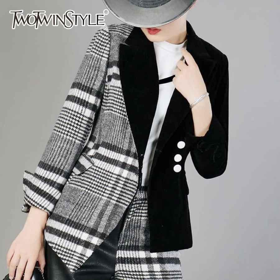 Velour Patchwork Wool Plaid Blazer Coat Female Long Sleeve Asymmetrical
