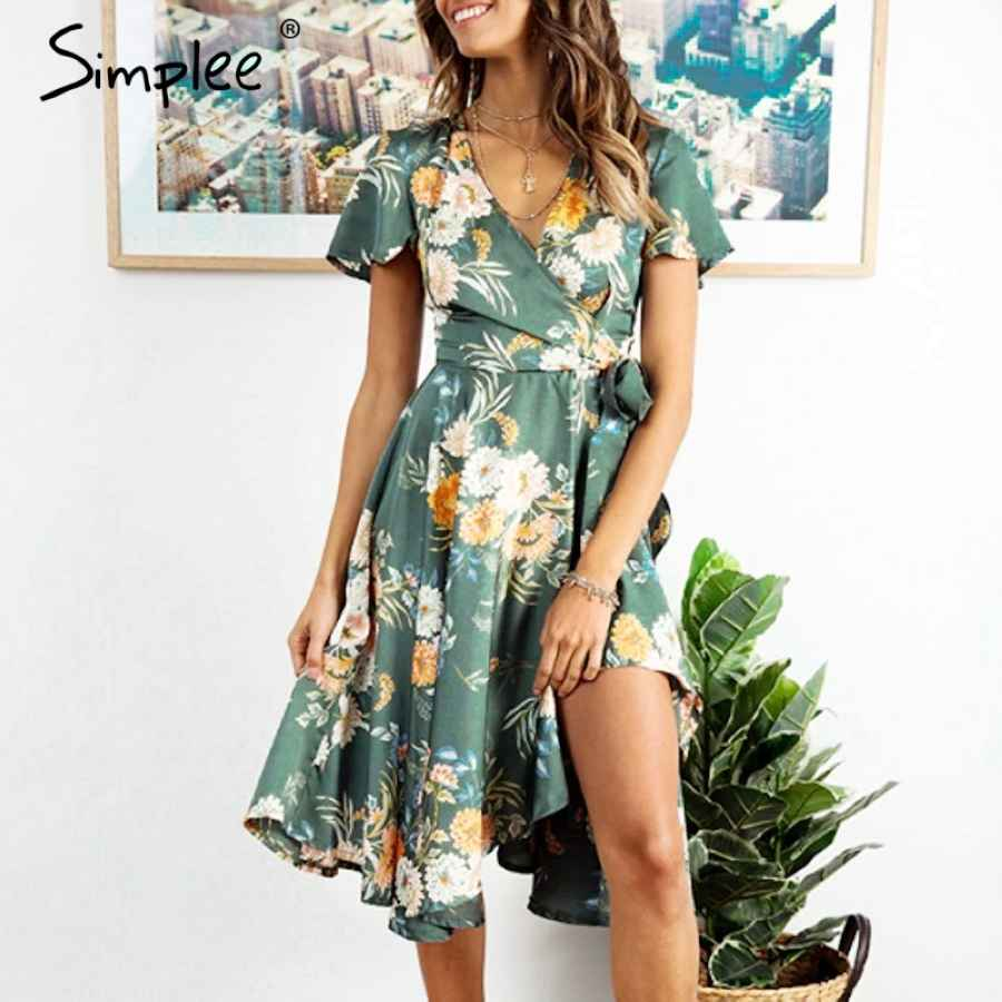 Elegant Floral Print Satin Women Dress Wrap V Neck High