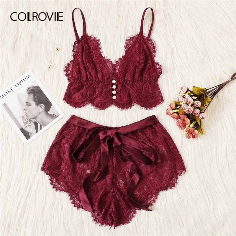Colrovie Burgundy Ribbon Scalloped Floral Lace Sexy Intimates Women Lingerie