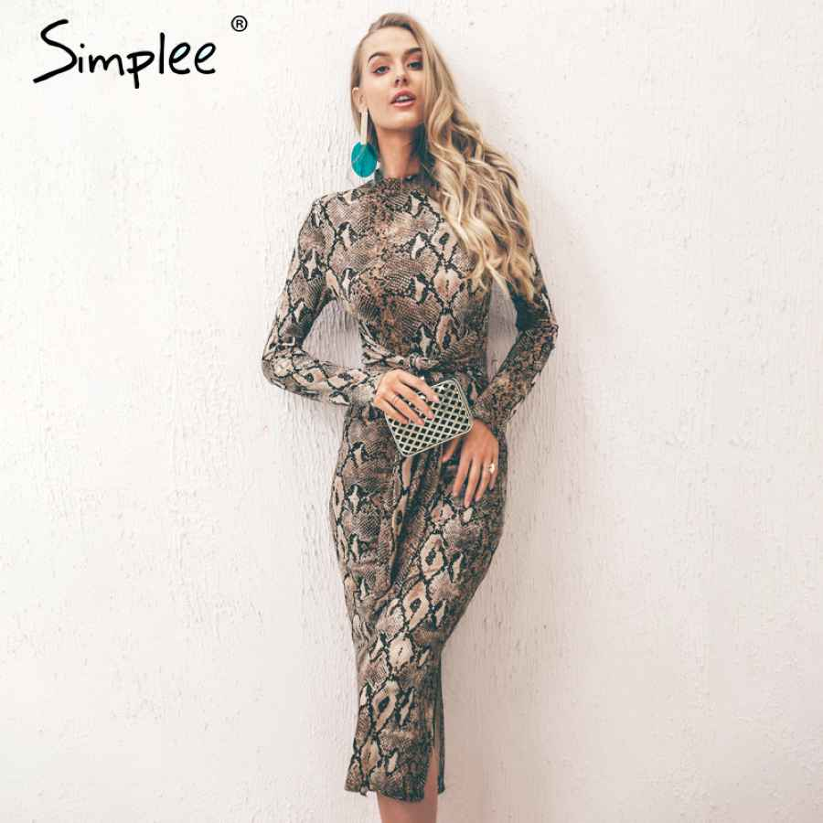 Leopard Print Women Long Dresss Autumn Long Sleeve Sashes Bodycon