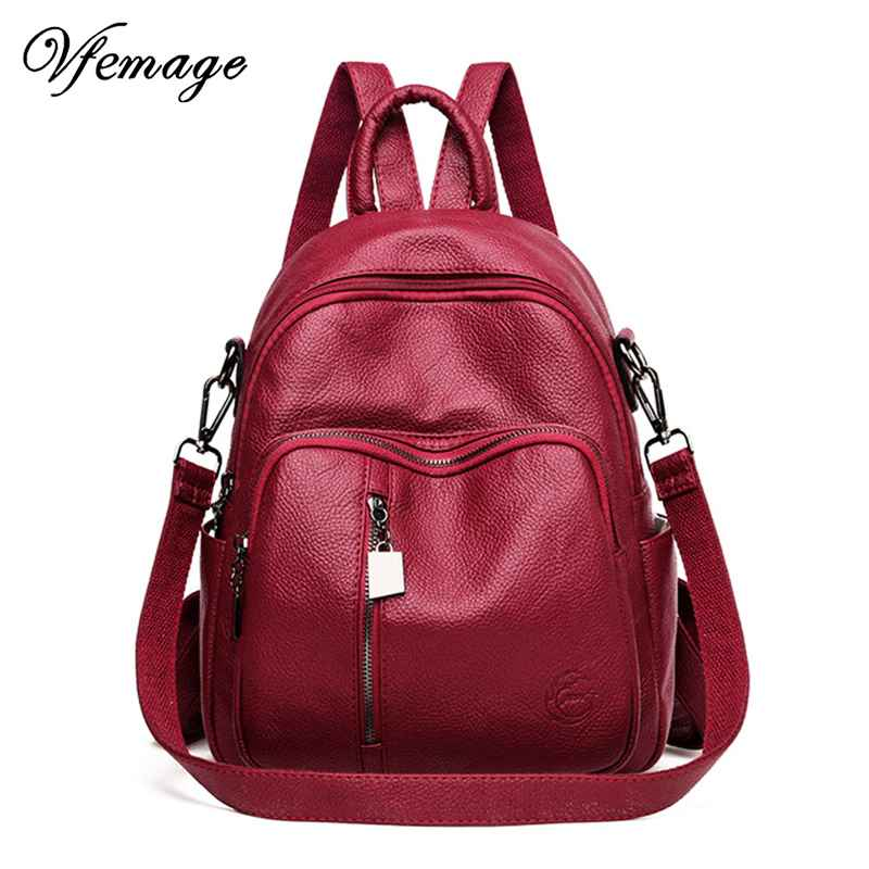 High Quality Leather Backpack Women Fashion Multifunction Backpack Female Travel