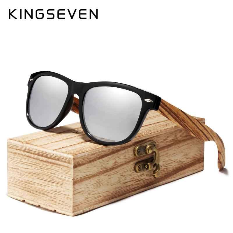 2019 Zebra Natural Wood Polarized Sunglasses Mirror Lens Retro Wooden