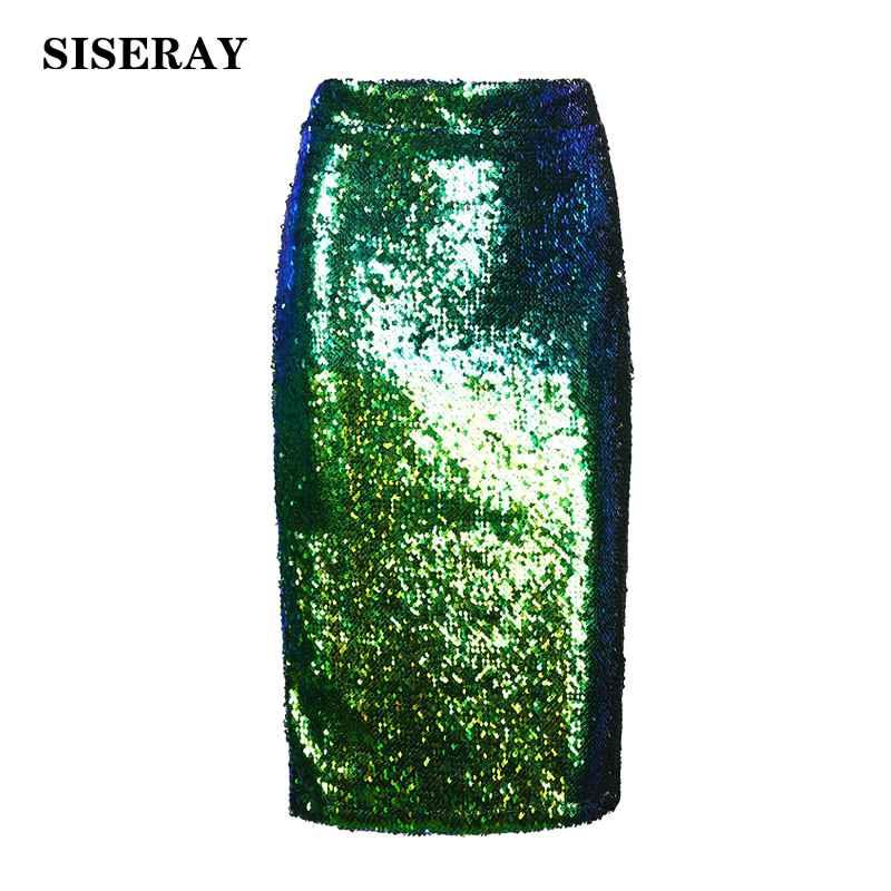 Skirts high waist sequined womens skirt elegant knee length pencil