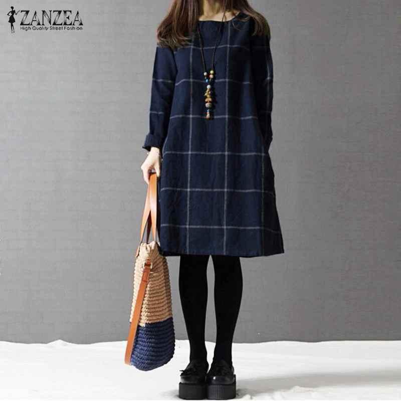 Sweaters zanzea winter dress 2019 autumn women long sleeve cotton
