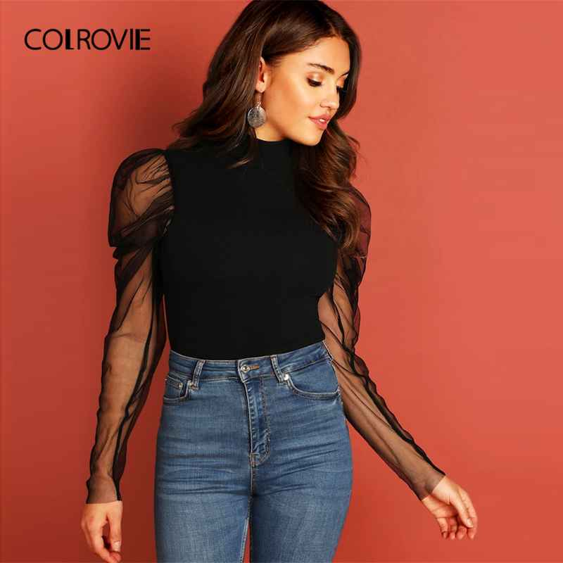 Colrovie Black Solid Mesh Gigot Sleeve High Neck Fitted Party