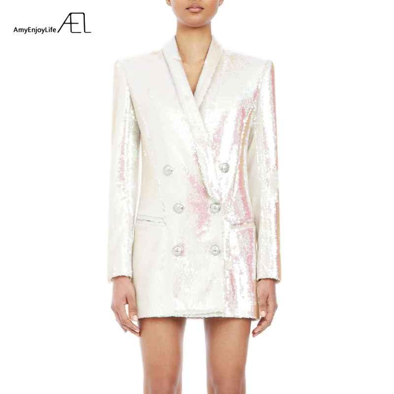 Blazers white glitter top woman coat fashion slim v neck