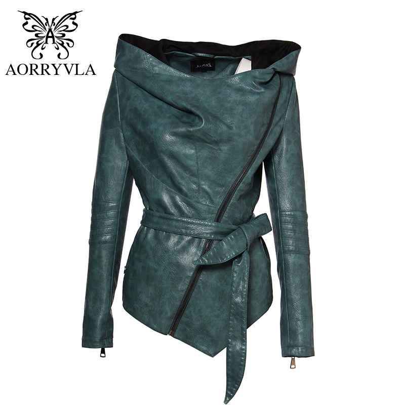 Aorryvla Brand Women Leather Jacket Full Sleeve Hooded Sashes Casual