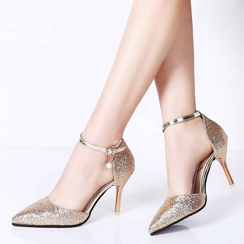 Rimocy Elegant Ladies Shinning Glitter Gold Silver Pumps 2019 Sexy