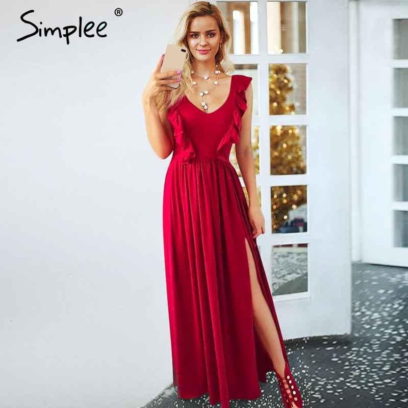 Pleated Red Long Women Dress Ruffles O Neck Split Maxi