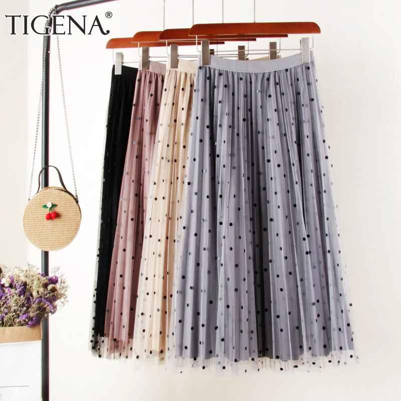 Skirts tigena reversible tulle velvet skirt women fashion 2019 spring