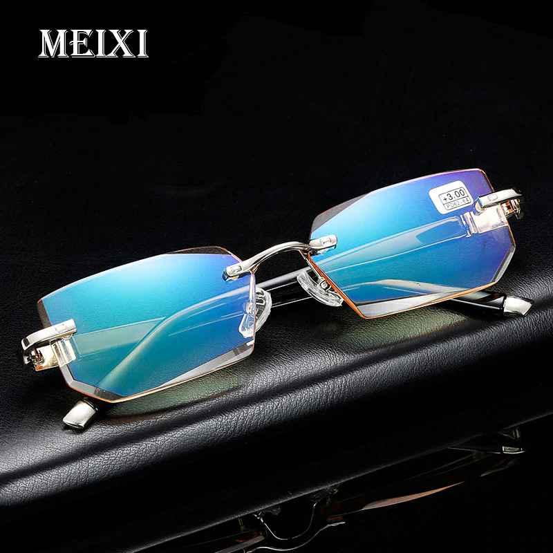 2018 New Anti-Blu-Ray Reading Glasses Diamond Cutting Metal Rimless H