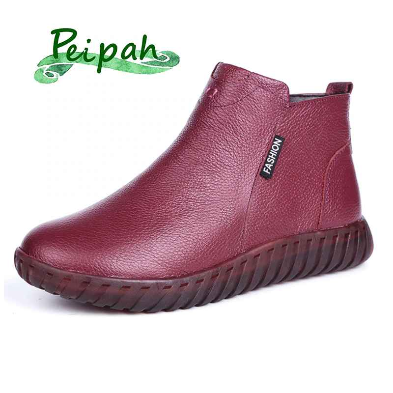 Peipah Vintage Handmade Genuine Leather Women Ankle Boots Casual Snow