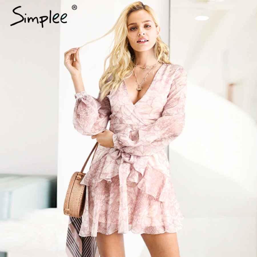 Vintage Ruffle Long Sleeve Dresses Women Print Elegant Chiffon Sashes