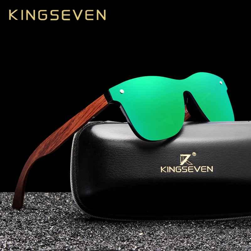 Bubinga Wooden Men's Sunglasses Women Polarized Retro Rimless Green Mirror