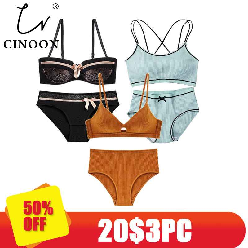 Cinoon 3 Pieces 2018 High-End Brand Romantic Temptation Bra Set