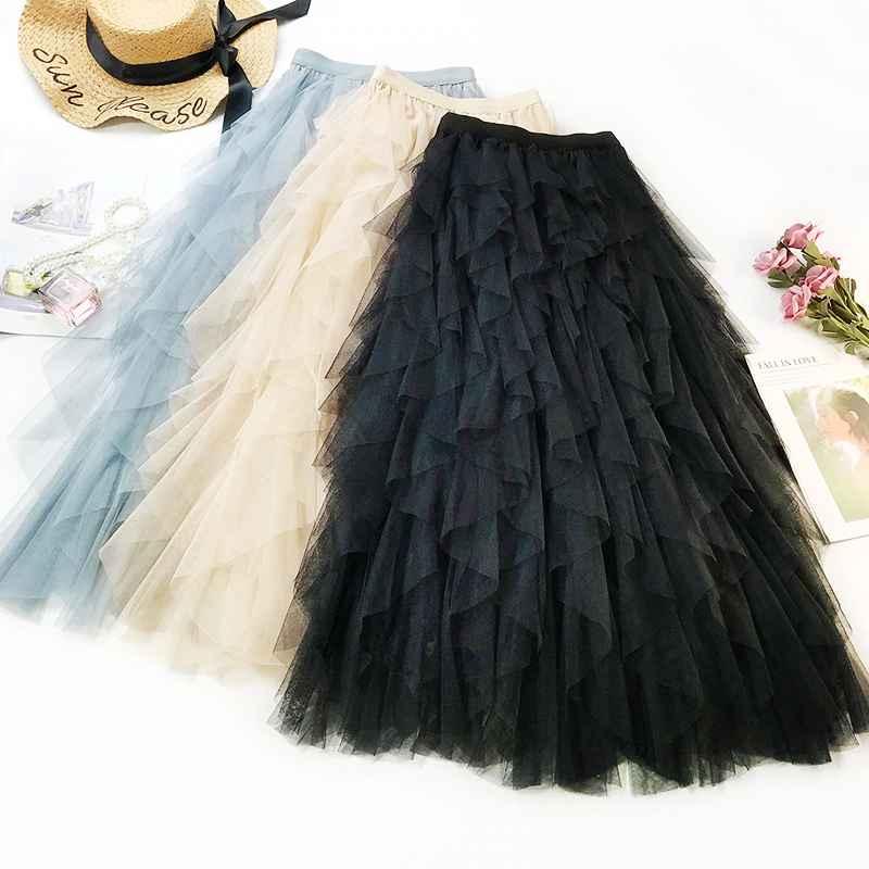Skirts 2019 summer women boho long skirt high waist ruffles