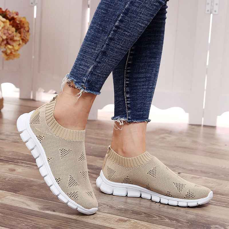 Lucyever Women Spring Autumn Sneaker Knitted Mesh Vulcanized Shoes Casual