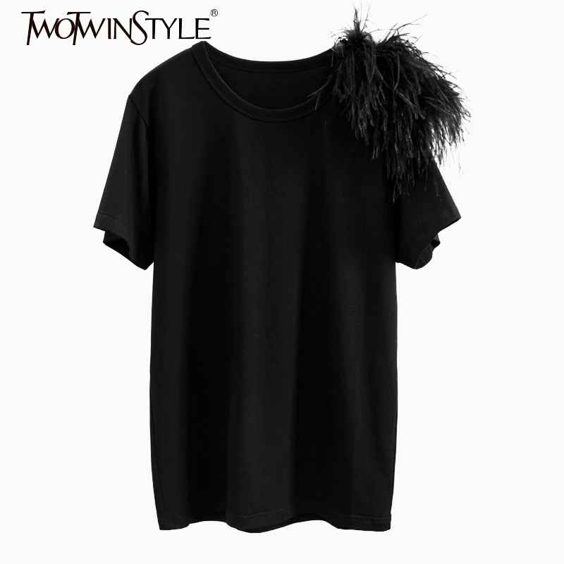 2019 Summer Casual Black Tops Female O Neck Short Sleeve