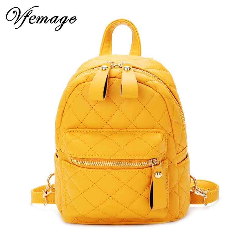 Teenager Girls Small Backpack Female Lingge Leather Backpack Purse Women