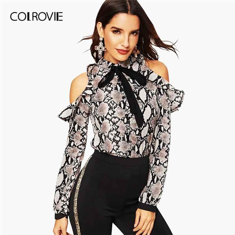 Colrovie Tie Neck Cold Shoulder Snake Skin Print Blouse Womens