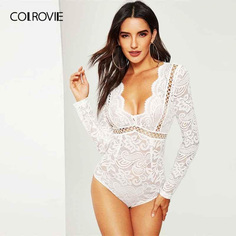 Colrovie White V-Neck Scalloped Lace Skinny Sexy Bodysuit Women 2019