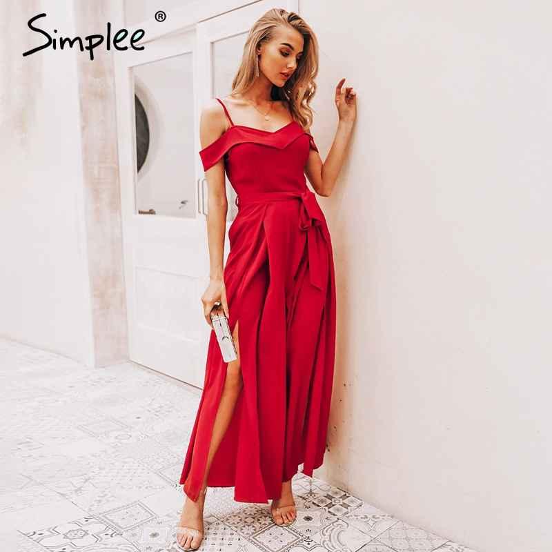 Off Shoulder Women Jumpsuit Romper Elegant High Waist Red Jumpsuit