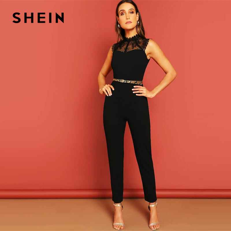 Black Constract Lace Bodice Open Back Halter Skinny Mid Waist