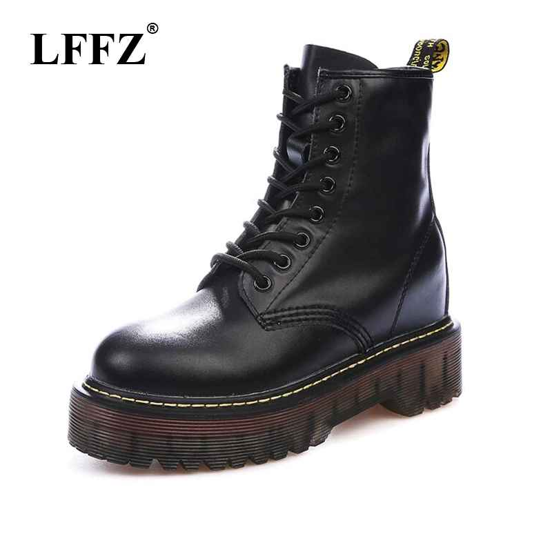 Size 35-40 Chunky Motorcycle Boots Women Autumn Height Increasing Fashion