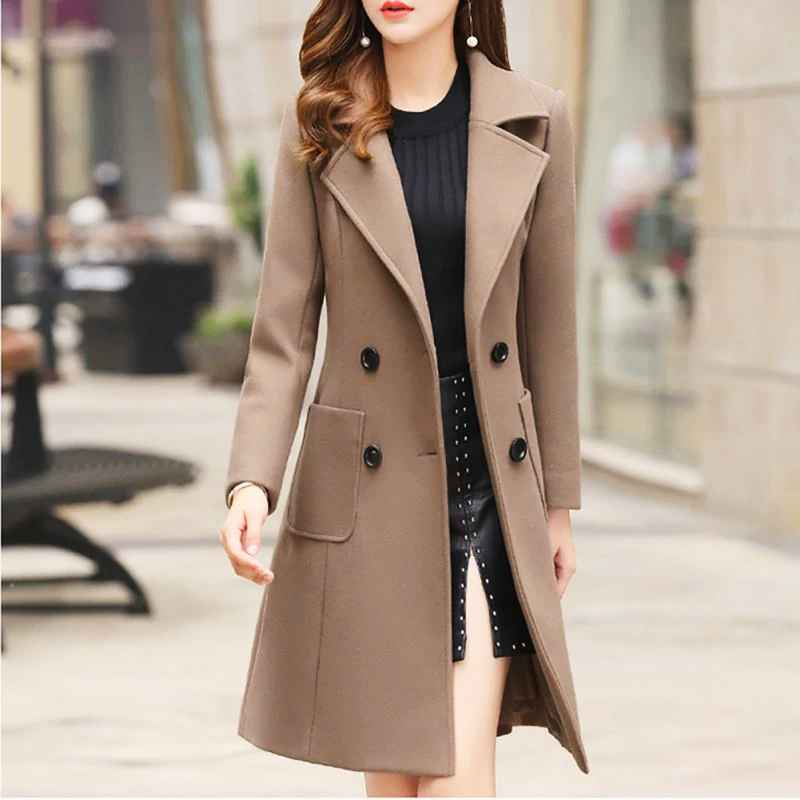 Long Slim Blend Outerwear 2019 Women Overcoat Wool Coat Autumn