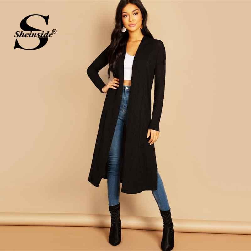 Elegant Black Split Side Longline Cardigan Women Minimalist Sweater Cardigan