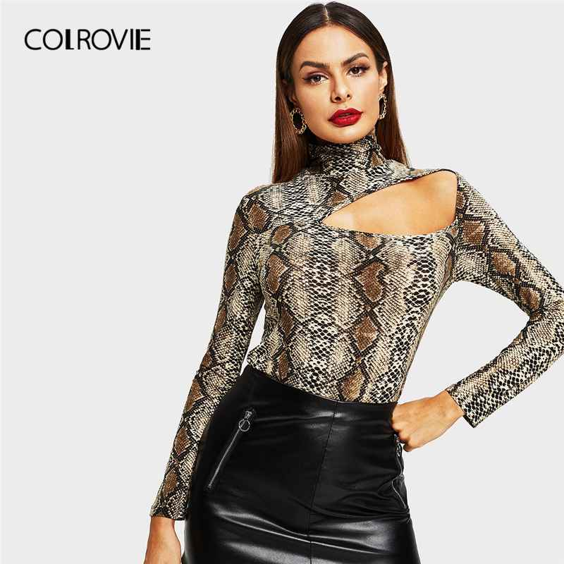 Colrovie Cut Out Front Snake Skin Print Fitted Casual T-Shirt