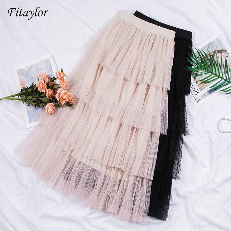 Skirts fitaylor spring new sweet cake layered long mesh skirts