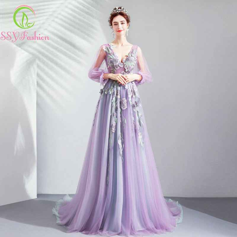 2019 New Banquet Elegant Purple Long Evening Dress V-Neck 34