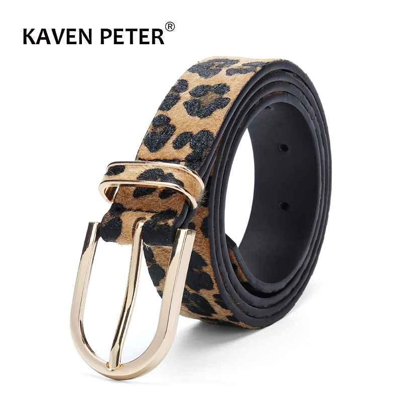 Fashion Belt For Women Horsehair Female Belt With Leopard Pattern