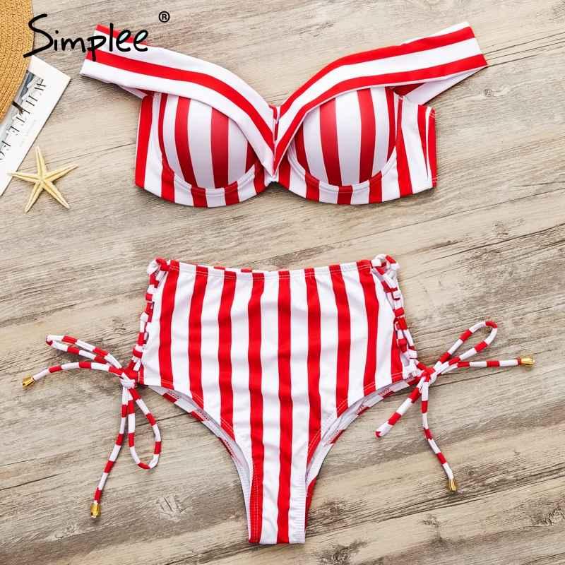 Swimwear Simplee Striped Two Pieces Women Bikini Set Push Up