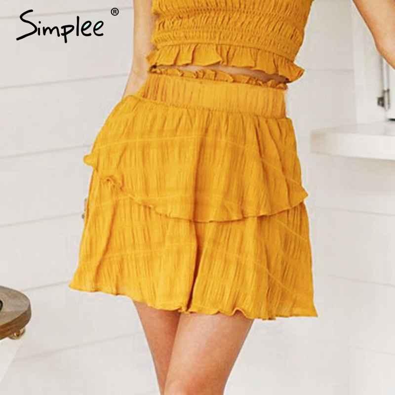Skirts Simplee Elegant A-Line Mini Skirt Women High Waist Summer