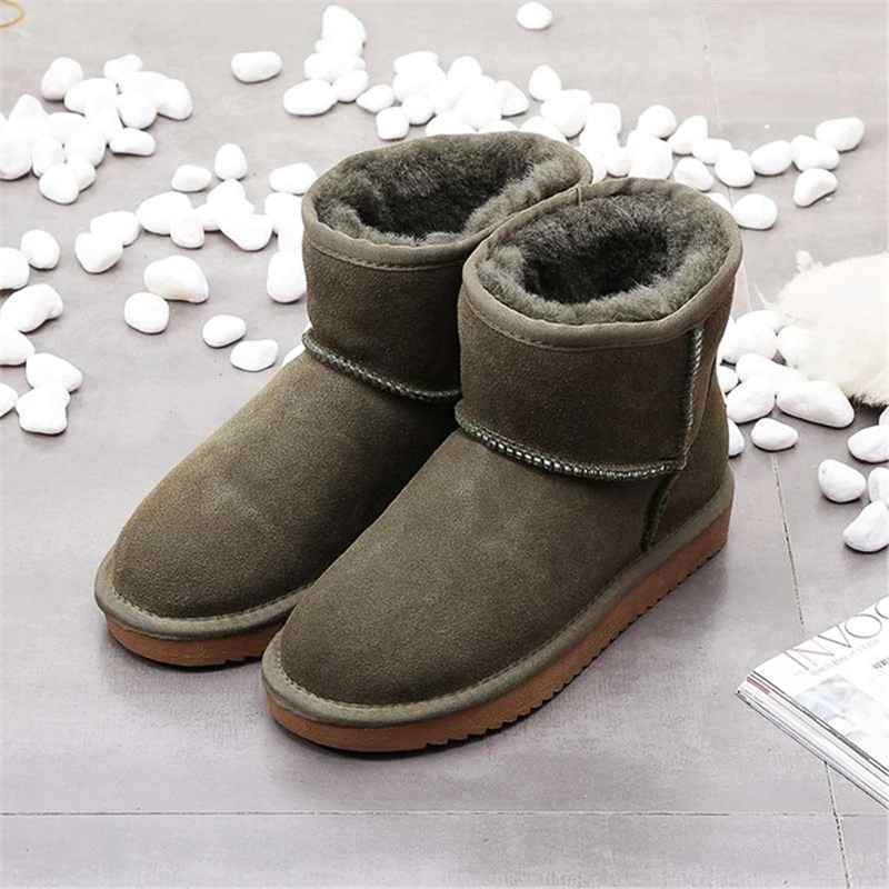 2019 Warm Women Snow Boots Fashion Ankle Boots Woman Genuine