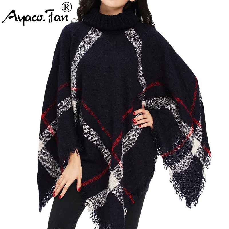 Winter Sweater Women Knitted Poncho Turtleneck Ladies Scarf Thick Warm