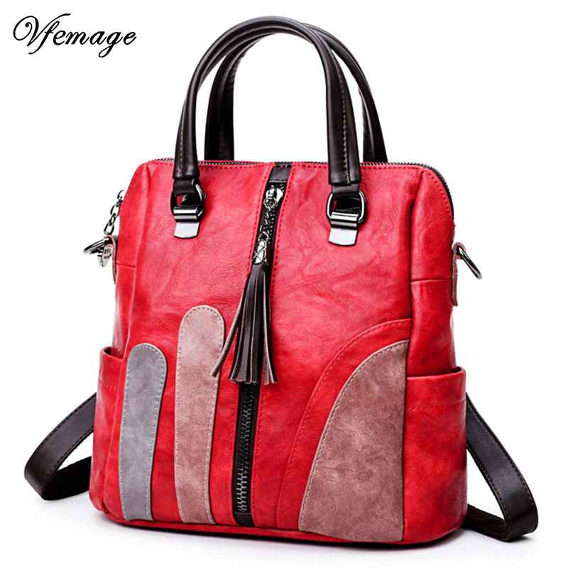 Stylish Patchwork Backpack Women Baga Leather Multifunction Backpacks Female Small