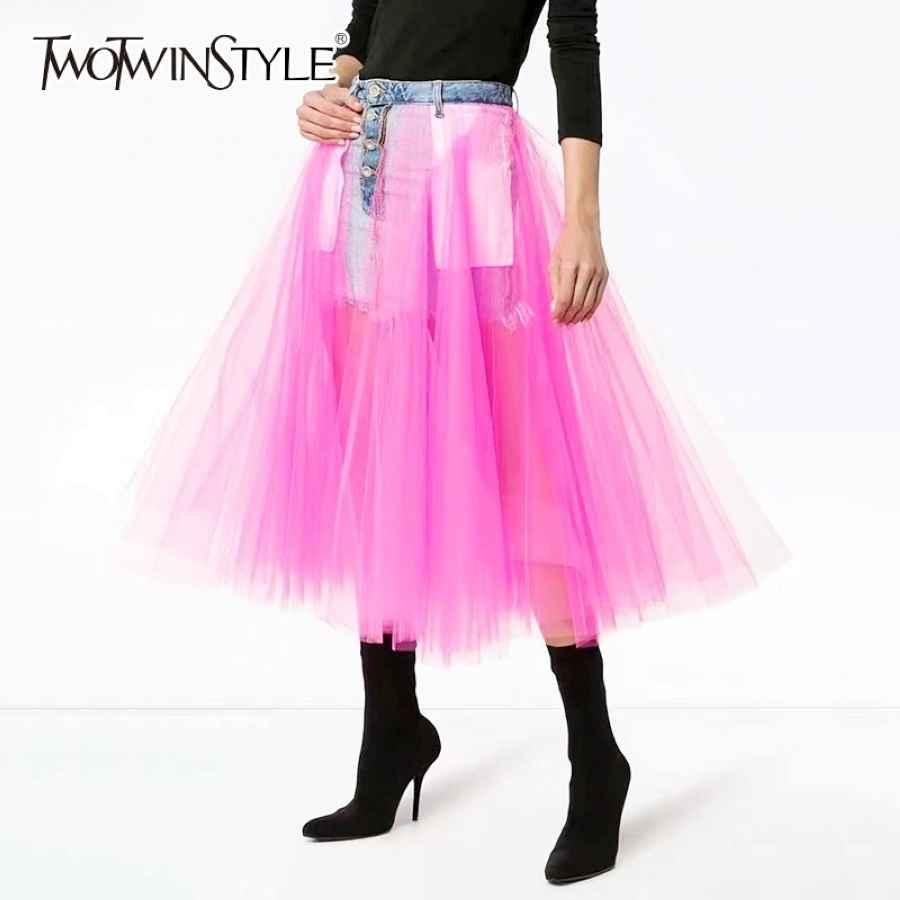Denim Skirts For Women High Waist Patchwork Mesh Midi Ball