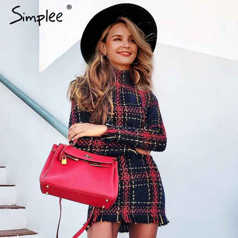 Autumn Winter Dresses Simplee Elegant Plaid Tweed Women Office Dress
