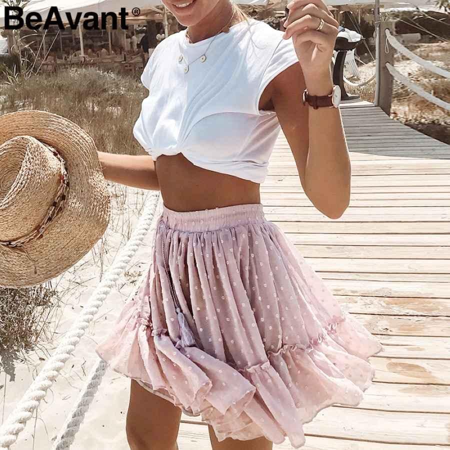 Boho Summer Pleated Mini Skirts Womens High Waist Polka Dot