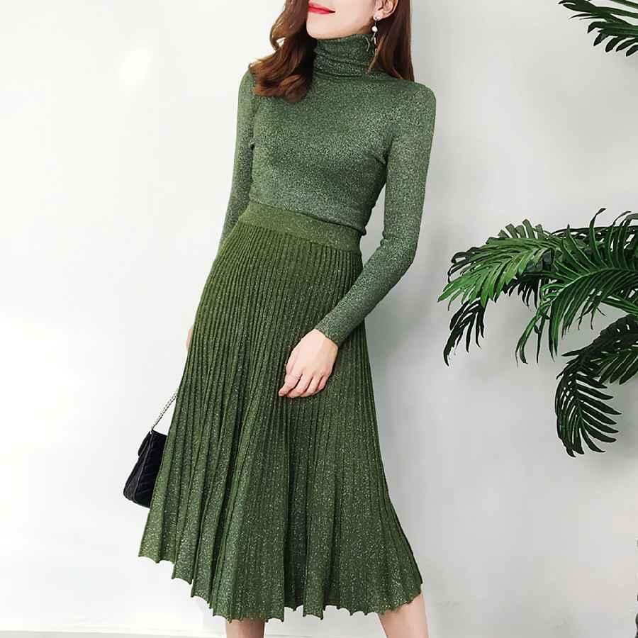 Womens Sets Womens Autumn And Winter Retro Bright Silk Turtleneck