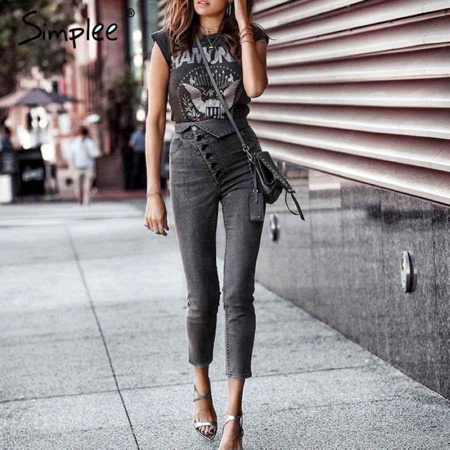 Skinny Denim Jeans Women High Waist Buttons Fold Streetwear Pants