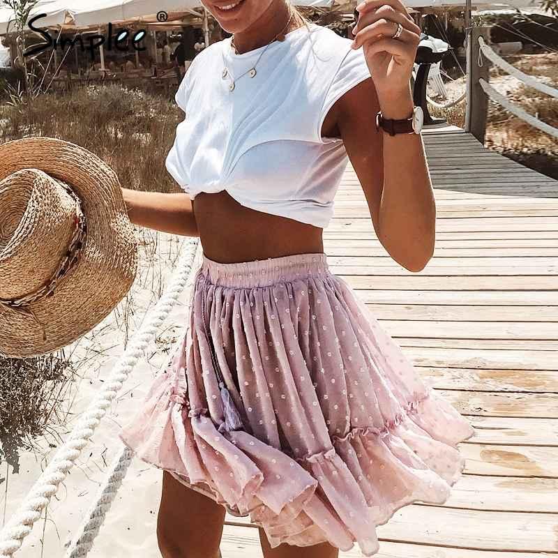 Skirts Simplee Casual Polka Dot Mini Women Skirt High Waist
