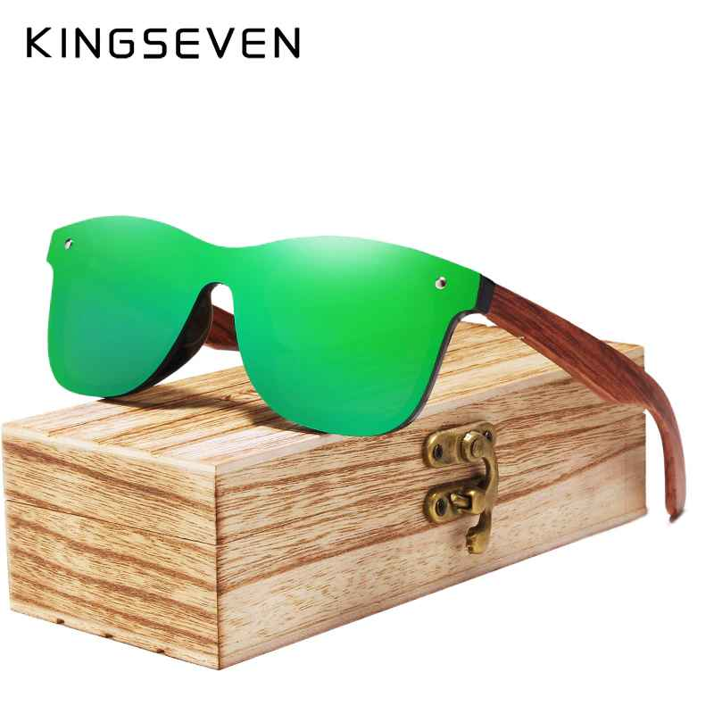 2020 Wood Rimless Polarized Men's Sunglasses Square Frame Sun Glasses