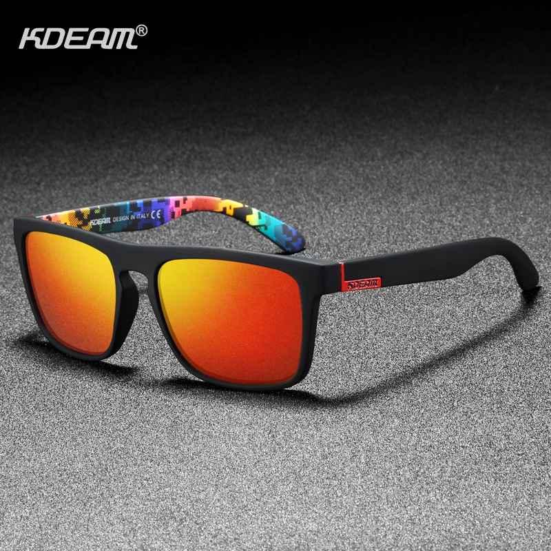 Kdeam Polarized Designer Square Sunglasses Men Or Women Elastic Paint