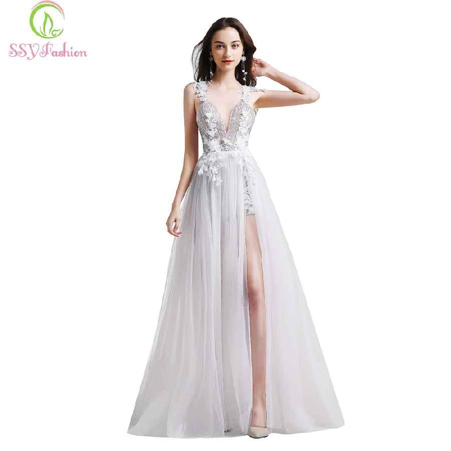 New White Lace Evening Dress V-Neck Backless Beach Dress Vestidos
