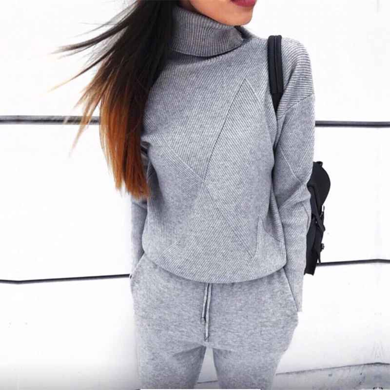 Autumn Winter Women Knitted Set 2019 Casual Knitted Tracksuit Turtleneck