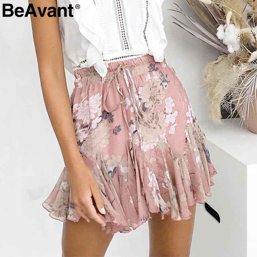 Bohemian Print Summer Skirts Womens Ruffle Pleated Floral Short Boho